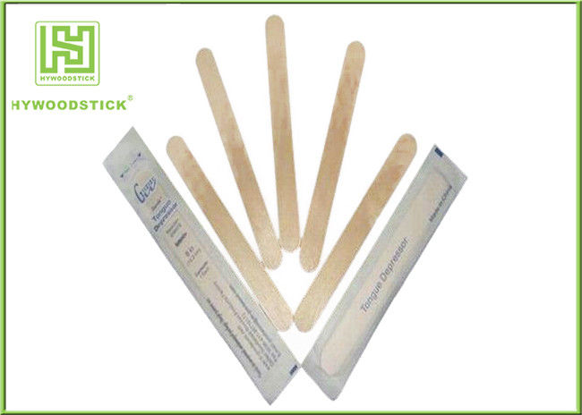 Single Use Disposable Wooden Tongue Depressor Flat Bamboo Sticks OEM Available